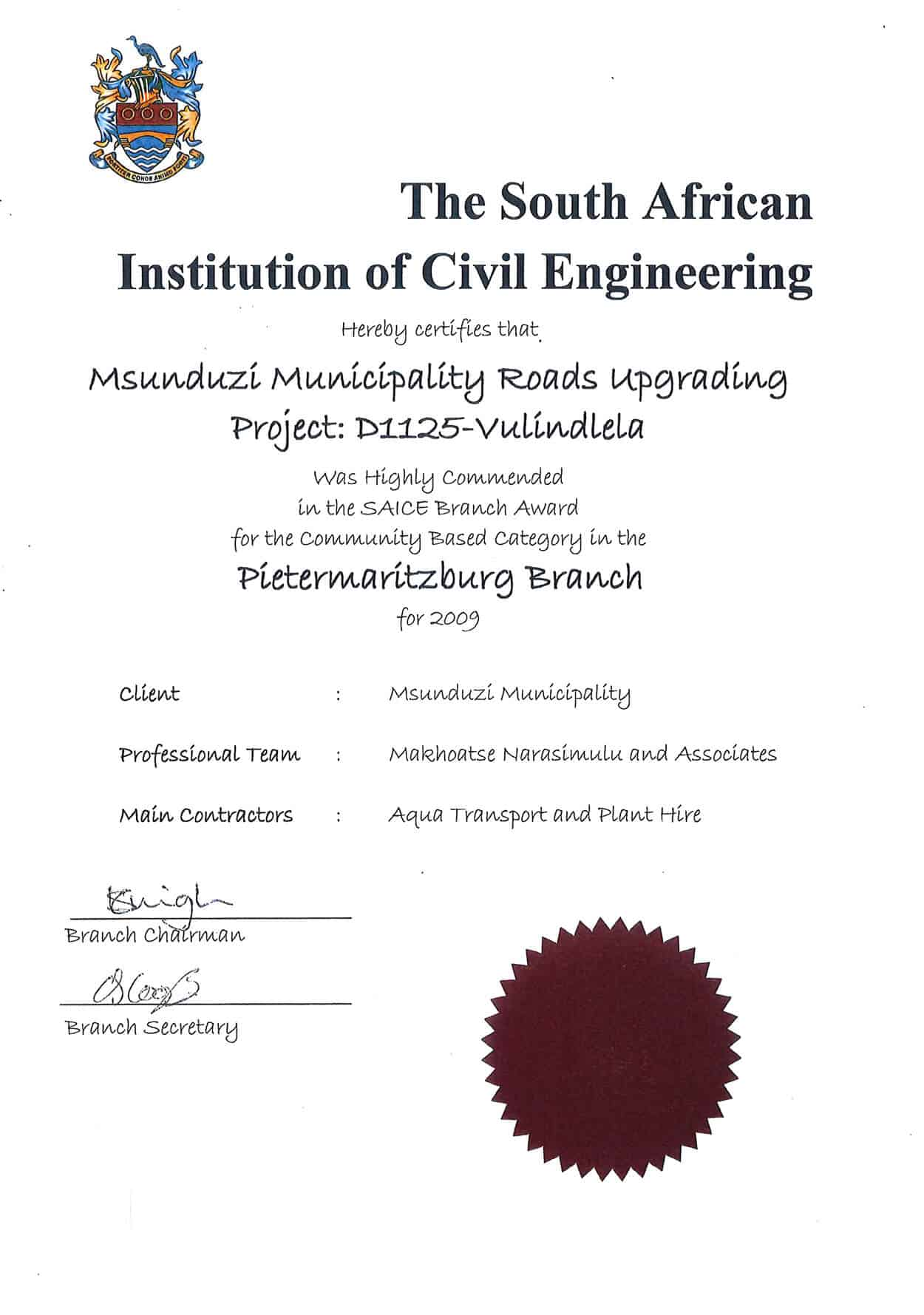 The South African Institute of Civil Engineering Maunduzi Municipality Roads Upgrading