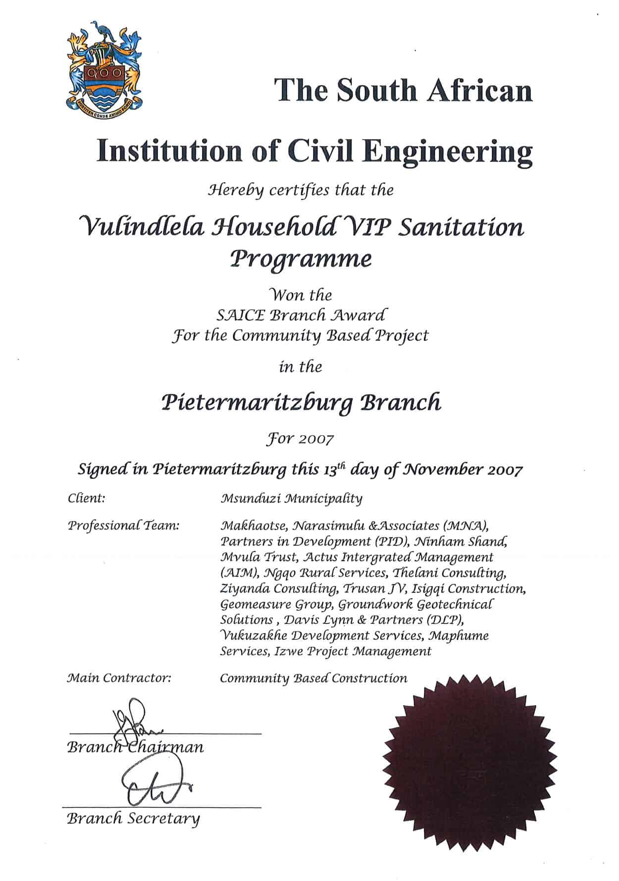 The South African Institute of Civil Engineering Maunduzi Municipality Sanitation Programme